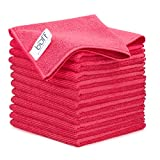 12' x 12' Buff Pro Multi-Surface Microfiber Cleaning Cloths | Red - 12 Pack | Premium Microfiber Towels for Cleaning Glass, Kitchens, Bathrooms, Automotive