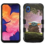 for Galaxy A10e, Hard+Rubber Dual Layer Hybrid Shockproof Rugged Impact Cover Case - Star Wars Baby Yoda #ZS