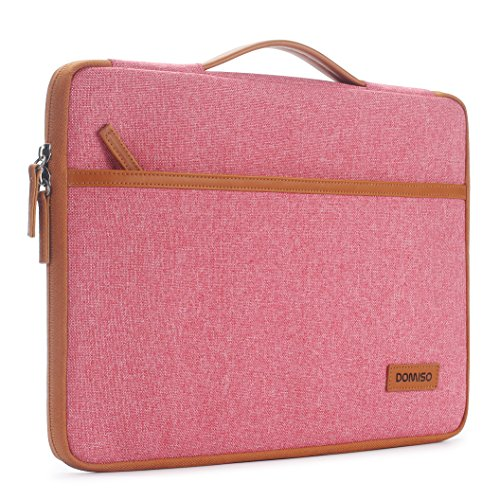 DOMISO 14 Inch Laptop Sleeve Briefcase Laptop Bag Shoulder Bag for 14 Inch Lenovo Chromebook S330 / Lenovo ThinkPad E490 T490s T590 / HP ProBook 645 G4 / Acer Swift 5 7 Pink