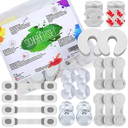 PIHU - XXL Sicherheitsset mit 42 Teilen (Erstausstattung) - Steckdosenschutz, Kindersicherung, Türschloss und Eckenschutz