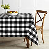 Lahome Farmhouse Buffalo Check Plaid Tablecloth - Grid Gingham Washable Cotton Linen Table Cover Kitchen Dining Room Restaurant Party Decoration (Rectangle - 55' x 86', Black&White)