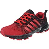 Wealsex Zapatos para Correr En Montaña Asfalto Aire Libre Deportes Zapatillas De Running para Hombre (Negro y Rojo,39)