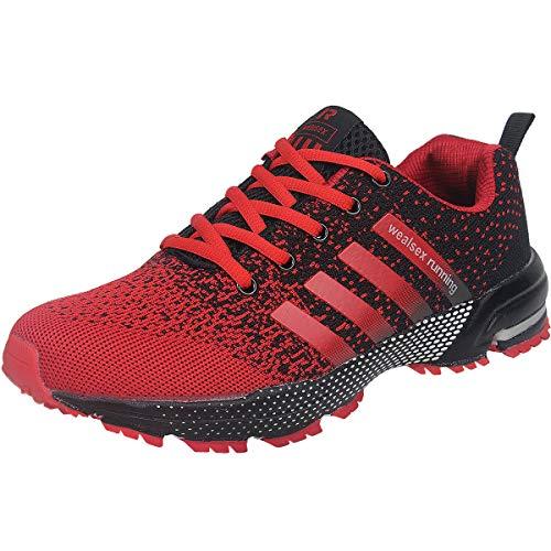 Wealsex Zapatos para Correr En Montaña Asfalto Aire Libre Deportes Zapatillas De Running para Hombre (Negro y Rojo,44)