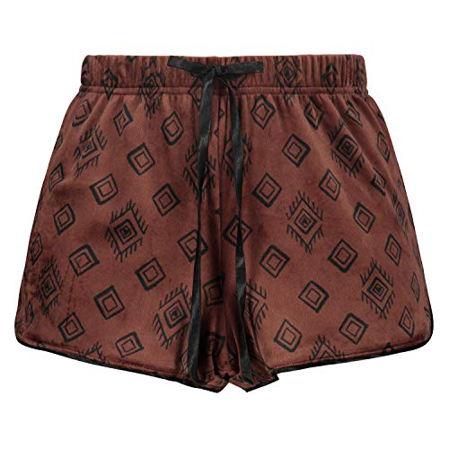 HUNKEMÖLLER Damen Pyjama Shorts Velours Braun M