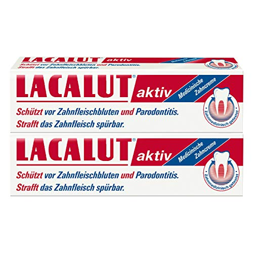 LACALUT AKTIV ZAHNCREME, 100ml Zahnpasta, sofort spürbare Straffung und Festigung des Zahnfleischs, effektive Zahnpflege & Zahnfleischpflege, 2 x 100ml