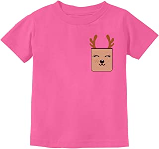 Holiday Cute Reindeer Christmas Pocket Printed Toddler Kids T-Shirt