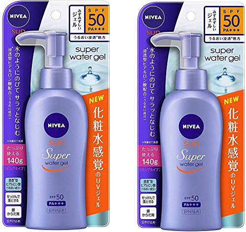 Nivea Super Sun Protect Water Gel SPF 50/PA+++ (Face & Body)Pump Type 140 g x 2 Sets (Japan Import)