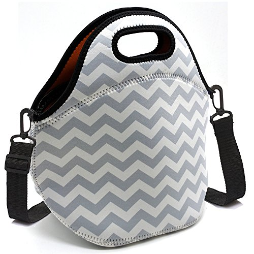 Baselife bolsa de almuerzo de neopreno aislada con cremallera, lavable, elástica, impermeable, para picnic, al aire libre, viajes, bolsa de mano para mujeres, hombres, niños y niñas gris