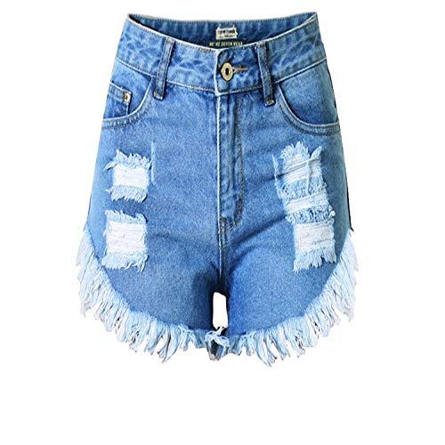 HNOSD Denim-Shorts mit Quasten, gerissene Denim-Shorts, für Damen, ausgefranste Mini-Jeans, klassische blaue Farbe, kurze Jeans, Tasche, sexy Sommer-Shorts Gr. L, Siehe Abbildung