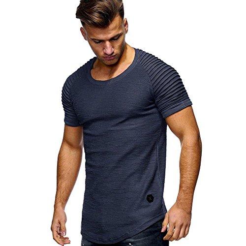 MRULIC Herren Männer T-Shirt Slim Fit Gerippte Ärmel Muscle Cotton Casual Tops Bluse Shirts(Grau,EU-56/CN-3XL)