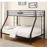 Metal Bunk Beds, Twin XL Over Queen Bunk Bed for Adults, Thicken Metal Bunk Bed Frame with Ladder and Guard Rail for Kids Boys Girls and Adults, Sandy Black