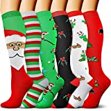 Christmas Compression Socks for Women Circulation 6 Pairs 15-20 mmHg is Best Support for Athletic Running Cycling (White/White/Black/Green/Red/Red, X-Large)