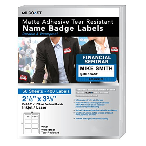 """Milcoast Matte Waterproof Adhesive Tear Resistant Name Badge Label Stickers - 2-1/3"""" x 3-3/8"""" 400 Labels (50 Sheets)"""