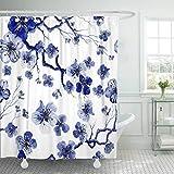 XZLWW Cortina de baño con patrón de Acuarela de Ganchillo con Ramas de Sakura y Flores de Cerezo 200x220CM A
