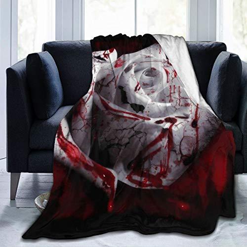 Fleece-Überwurfdecke Blutige Rosen, weiße Rosen, leicht, niedliche weiche Decken für Sofa, Stuhl, Bett, Büro, Reisen, Camping, Schwarz, 80