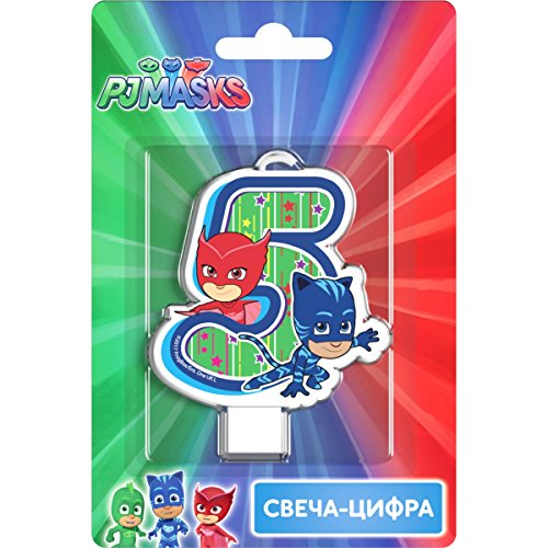 Сandle on a Cake Topper 5 Years PJ MASKS Catboy Owlette Must Have Accessories for the Party Supplies and Birthday
