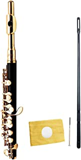 LeSharp Orchestral Instrument,Catkoo Professional C Key Piccolo Wind Instrument with Screwdriver Cleaning Cloth Stick - Black Golden