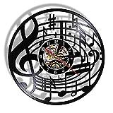 Nfjrrm Nota Musical Arte de la Pared Clave de Sol Disco de Vinilo Reloj de Pared Colgante partitura Arte Retro Rock Music Lover Regalo 12 Pulgadas