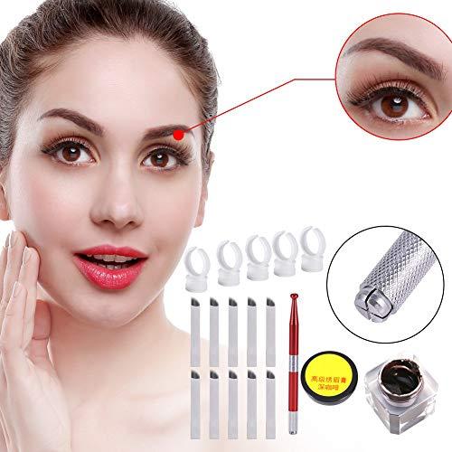 Permanent Tattoo Set, Tattoo Nadeln Stifte, 3D Make-up Augenbraue Pigment Set mit 12 Pins Klingen Nadeln Augenbrauen Microblading Pen Tattoo Pigment Pigmentringe