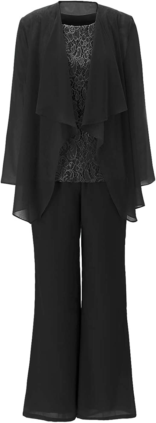 Fitty Lell Women's Elegant Chiffon Mother of The Bride Dress Plus Size 3-Piece Pant Suit Set for Women Formal