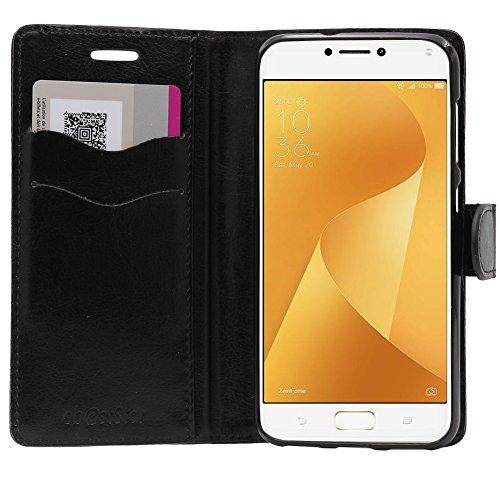 ebestStar - Cover Compatibile con ASUS Zenfone Max Plus M1 ZB570TL Custodia Portafoglio Pelle PU Protezione Libro Flip, Nero [Apparecchio: 152.6 x 73 x 8.8mm, 5.7'']