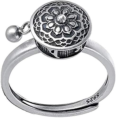 GUOSHUFANG Anillo de oración de loto giratorio de plata de ley 925 con esmalte de flor de loto ajustable anillo abierto Mantra a la moda regalo de joyería de la suerte