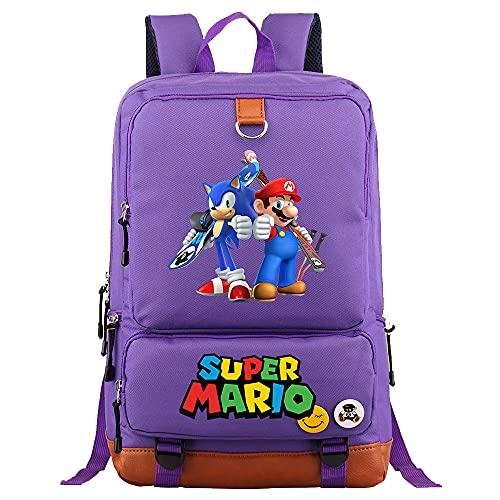 Mario - Mochila, mochila escolar, mochila de ocio, bolsa para libros, impresión HD, adecuada para niños y adolescentes, regalos, M16. (Negro) - dfg-54266553