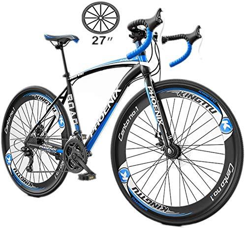 Damenfahrrad 27-Speed Trekking Bicycle Cross Trekking Bikes Men Adjustable Flat Handlebar Bicycle Road 700C Bicycle Mountain Off-Road Bicycle-27 Zoll / 27 Geschwindigkeit_Blau