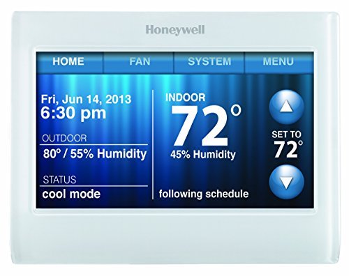 Honeywell TH9320WF5003 Wi-Fi 9000 Color Touch Screen Programmable Thermostat, 3.5 x 4.5 Inch, White, 'Requires C Wire'
