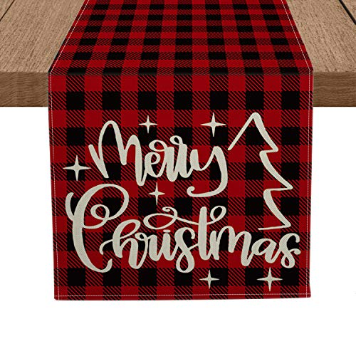 Artoid Mode Red and Black Buffalo Plaid Merry Christmas Table Runner, Seasonal Winter Xmas Holiday Tablecloth Kitchen Dining Table Linen for Indoor Outdoor Home Party Decor 13 x 72 Inch