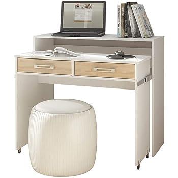 Ch/êne 100 x 36 x 88 cm l x p x h design Leonhard Pfeifer MDS La Console-bureau munie de deux tiroirs laqu/ée blanc ou finition ch/êne