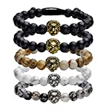 JOVIVI Lava-Armband Reiki-Energietherapie Yoga-Armband Armreif Löwe-Kopf Stein Beads Armband Geflochte