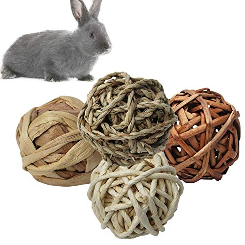 kathson Small Animal Activity Toy,Chewing Funny Play Toys Natural Woven Grass Ball for Rabbits,Bunny,Guniea Pigs,Gerbils,Birds and Other Small Pets(4 Pcs)
