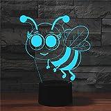 Yyhmkb Fiesta Bebe Seguridad Enchufe Pared Superficie Lámpara De Escritorio Con Control Remoto Táctil De Luz 3D Colorida De Abeja Pequeña Luz De Noche De Ilusión Led De Ahorro De Energía