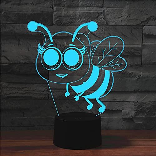 Yyhmkb Luz Automatica Mesa Para Niños Lamparas Mesilla De Noche Lámpara De Escritorio Con Control Remoto Táctil De Luz 3D Colorida De Abeja Pequeña Luz De Noche De Ilusión De Ahorro De Energía