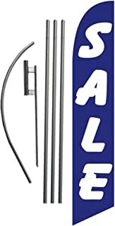 Sale Advertising Feather Banner Swooper Flag Sign with Flag Pole Kit and Ground Stake, Blue and White