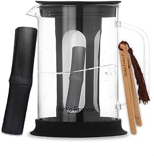 Rinko France| Pack Carafe d'eau Filtrante 1,5 L avec Un Binchotan de Bambou Naturelle Offert| Charbon Actif 100% Bio Purif...