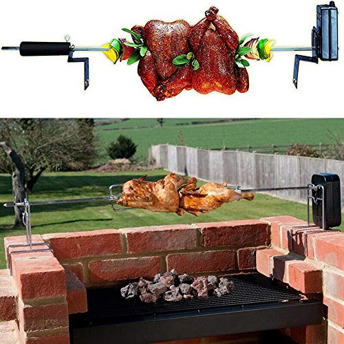 XINSTAR Stainless Steel Universal Grill Rotisserie Kit Complete BBQ Kit with Spit Rod Meat Fork Electric Motor