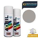AREXONS Smalto Acrilico Spray per tutte le superfici 2 Bombolette da 400ml + OMAGGIO Mascherina monouso (ALLUMINIO Ral 9006)