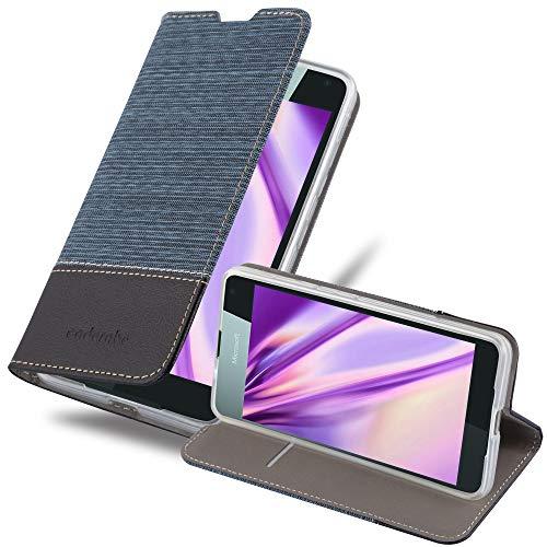 Cadorabo Hülle für Nokia Lumia 650 - Hülle in DUNKEL BLAU SCHWARZ – Handyhülle mit Standfunktion und Kartenfach im Stoff Design - Case Cover Schutzhülle Etui Tasche Book