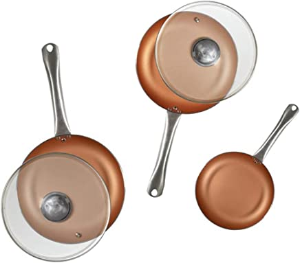 San Ignacio Q2995 Optimum Cooper-Set 5 Piezas: 3 sartenes 2 Tapas-Efecto