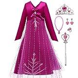 LOBTY Mädchen Prinzessin Kleid Kostüm Rose Langarm V-Ausschnitt Zurück Zip Tüll Print Kleid...