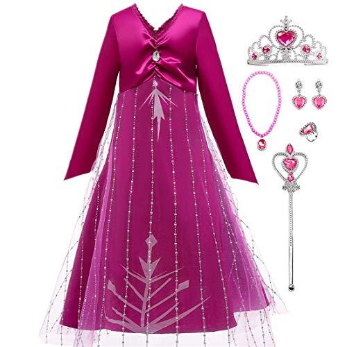 LOBTY Mädchen Prinzessin Kleid Kostüm Rose Langarm V-Ausschnitt Zurück Zip Tüll Print Kleid Halloween Karneval Party Geburtstag Party Rollenspiele Kostüm und Zubehör Zauberstab Halskette Ohrring