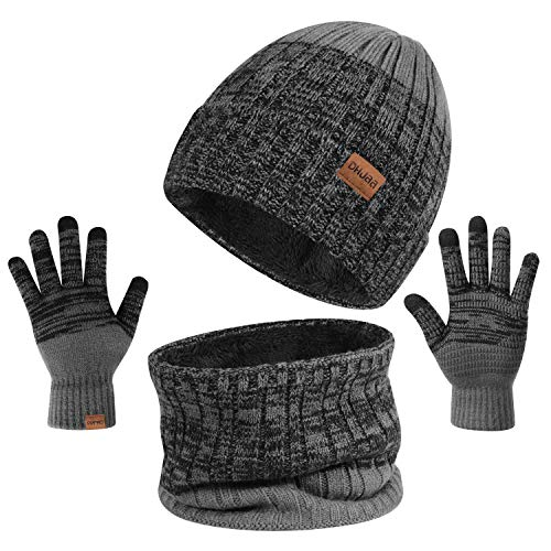 TAGVO 3in1 Winter Beanie Hut, Schal, Handschuhe Set,Ultraweiche elastische Verdickung Vlies Innenfutter Strick Beanie Cap Neck Warmer Warme Strickmützen, Mütze, Schal & Handschuh-Sets für Damen Herren