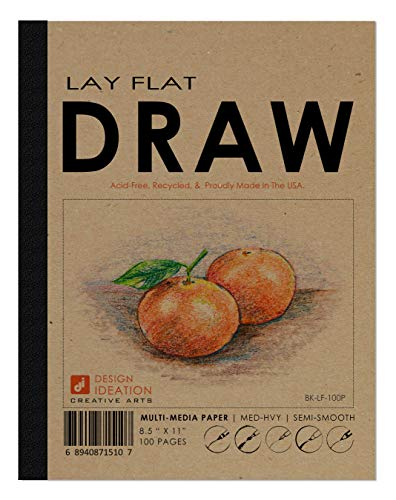Design Ideation Lay Flat Drawing Pad. Removable Sheet Drawing Book for Pencil, Ink, Marker, Charcoal and Watercolor Paints. Great for Art, Design and Education. 8.5' x 11'