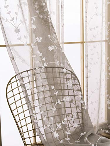 AmHoo 2 Panels Leaf Flora Embroidered Farmhouse Semi Sheer Curtain Voile Curtains for Living Room Bedroom Window Treatment Light Gray 53 x 63 Inch