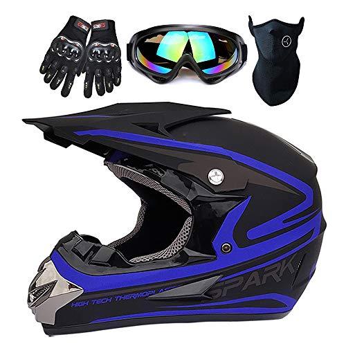 Adult Motocross Helmet - Man DOT Approved Dirt Bike ATV Motorcycle Helmet Road Downhill Motorbike Full Face Helmets Mask + Goggles + Gloves,Blue,L