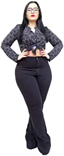 Calça Jeans Feminina Cambos Plus Size Flare Lya Preta