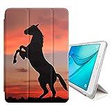 FJCases Schwarz Pferd Hengst Tier Smart Cover Tablet-Schutzhülle Hülle Tasche + Auto aufwachen/Schlaf Funktion für Samsung Galaxy Tab A - 10.1