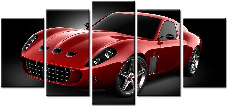 la mejor oferta de tienda online Ssckll Ssckll Ssckll Decoración para El Hogar Moderna Pintura En Lienzo HD Print Boys Room Wall Art Poster 5 Piezas Cool Flashy rojo Sports Car Pictures-Marco  diseños exclusivos